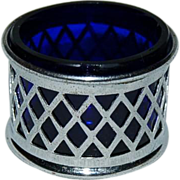1920's Plated Salt Cellar with Cobalt Liner