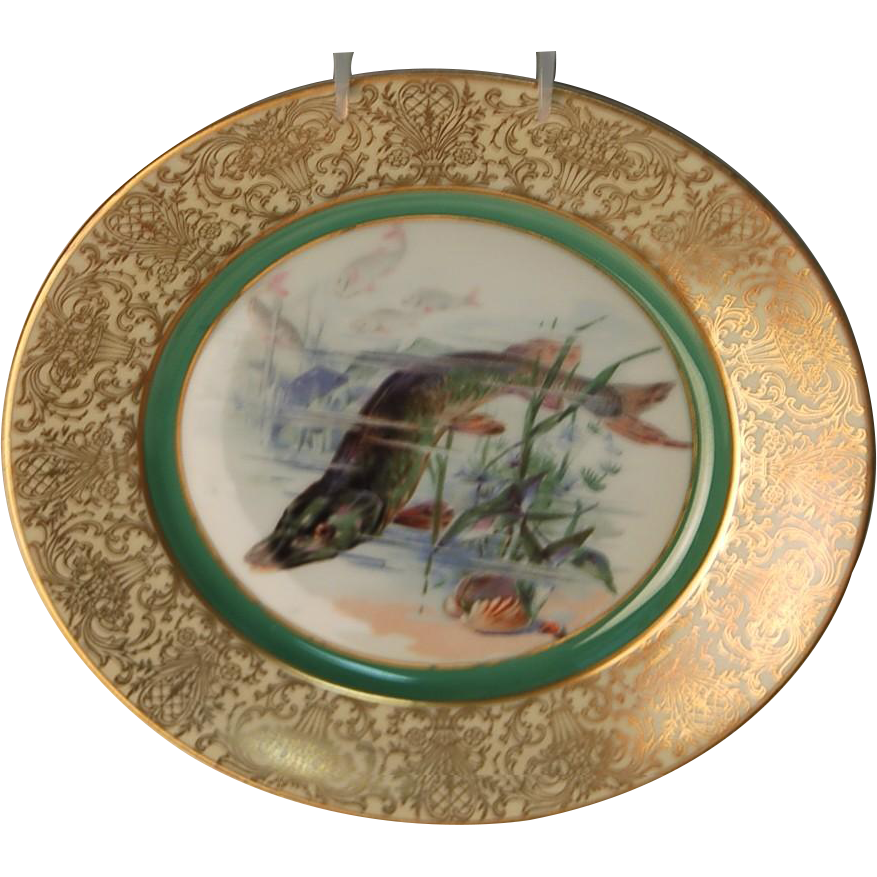 """1900's Hand Painted Bavarian P T Tirschenreth Fish Plate """"Pike"""""""
