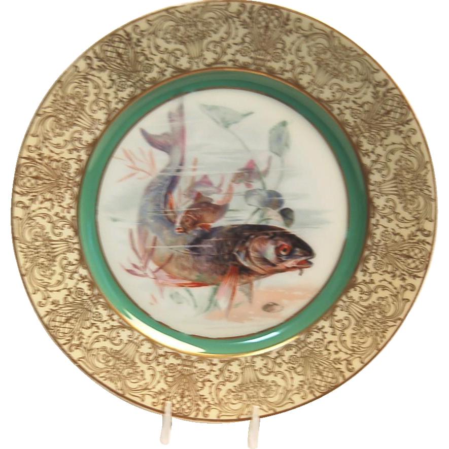 "1900's Hand Painted Bavarian P T Tirschenreth Fish Plate ""Bass"""