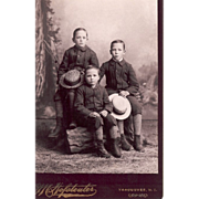 """Cabinet Card with Photo of Brothers"""" 3 Buddies"""" Vancouver Washington Territory"""