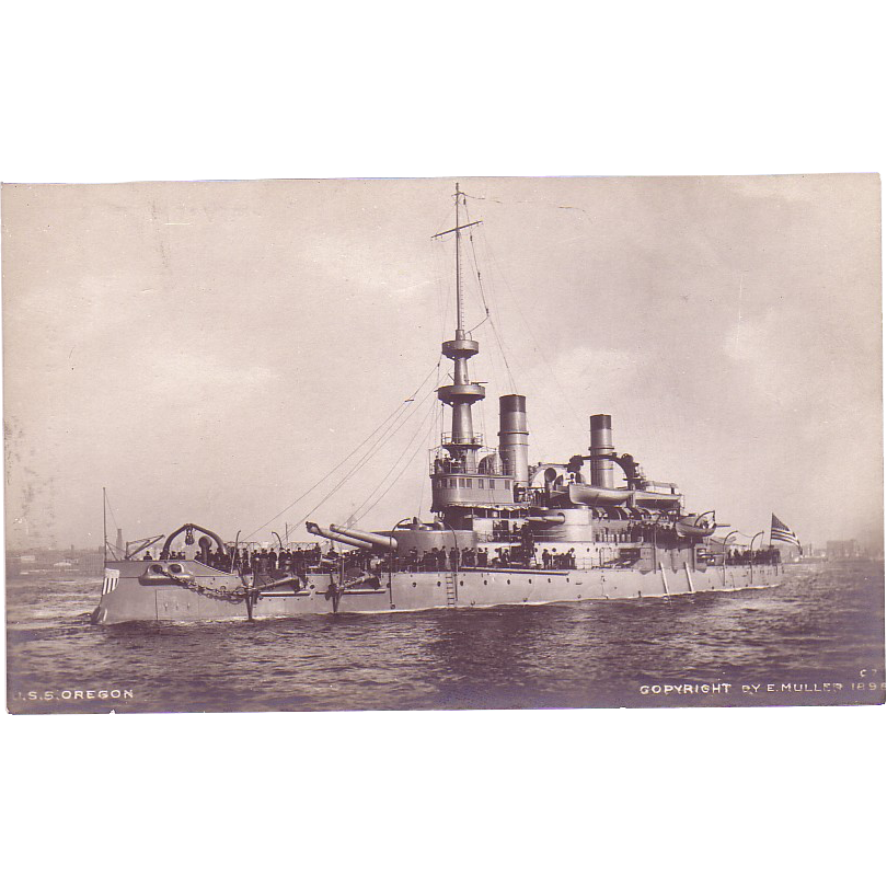 "RPPC ""USS Oregon"" Dated 1898 Postcard"