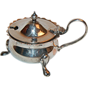 1900's Sweet Tiny Electro Plated Footed Mustard Pot w/ Handle