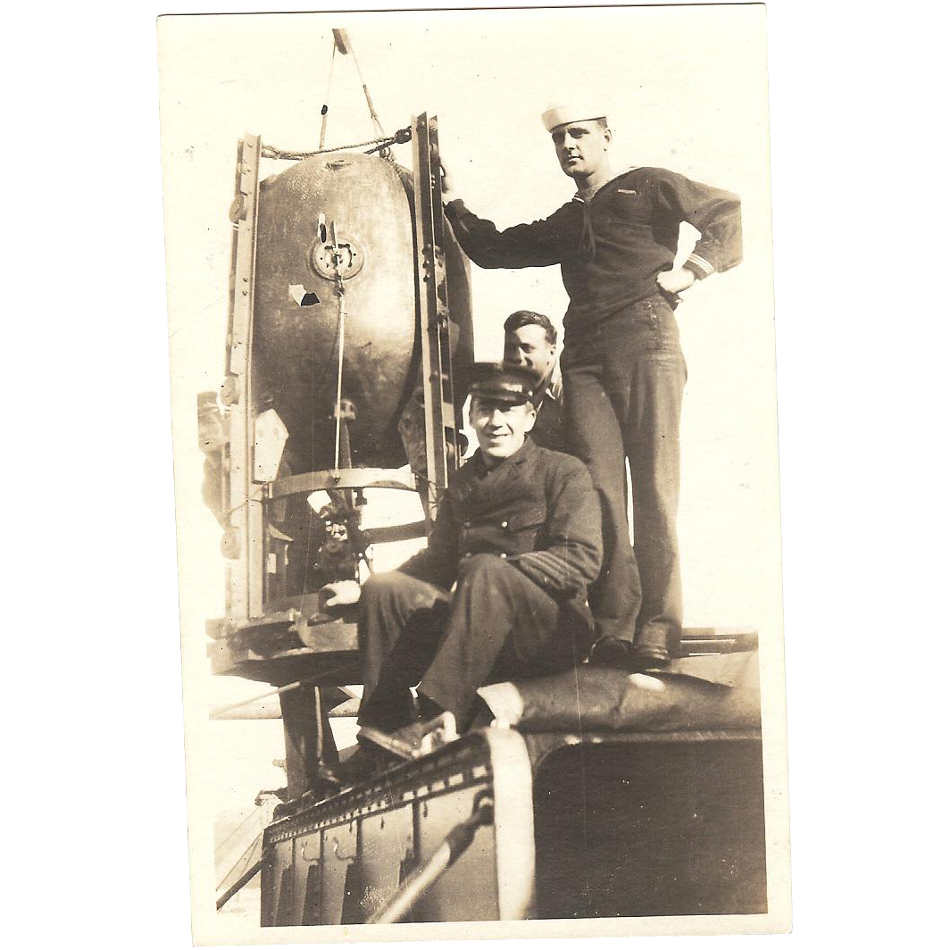 Scarce RPPC with (3) Navy Sailors on the Deck of Ship