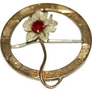 victorian Gold Filled Pin w/ a Red Stone in a Flower