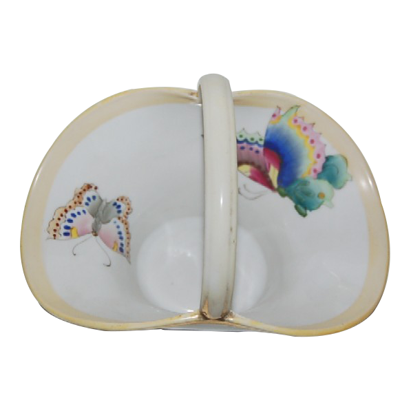 Nippon Basket decorated w/ Beautiful Handpainted Butterflies