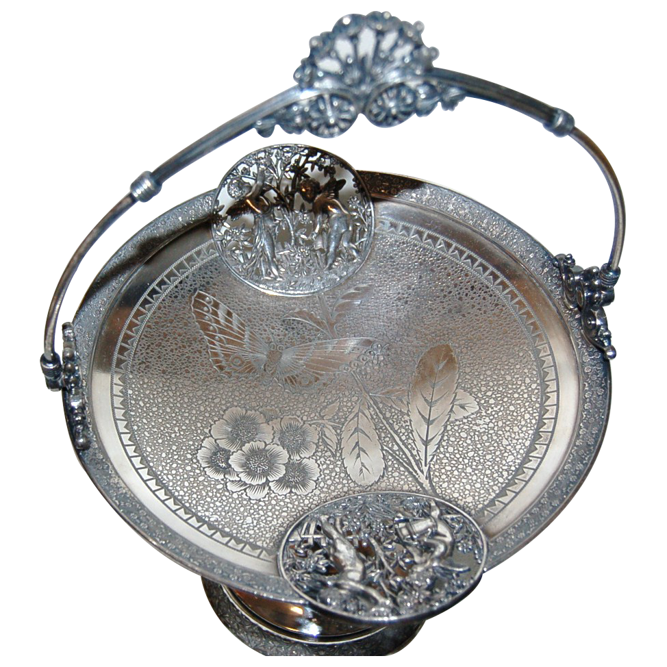 1890's Victorian Silverplated Cake Basket w/ Cherubs in Garden