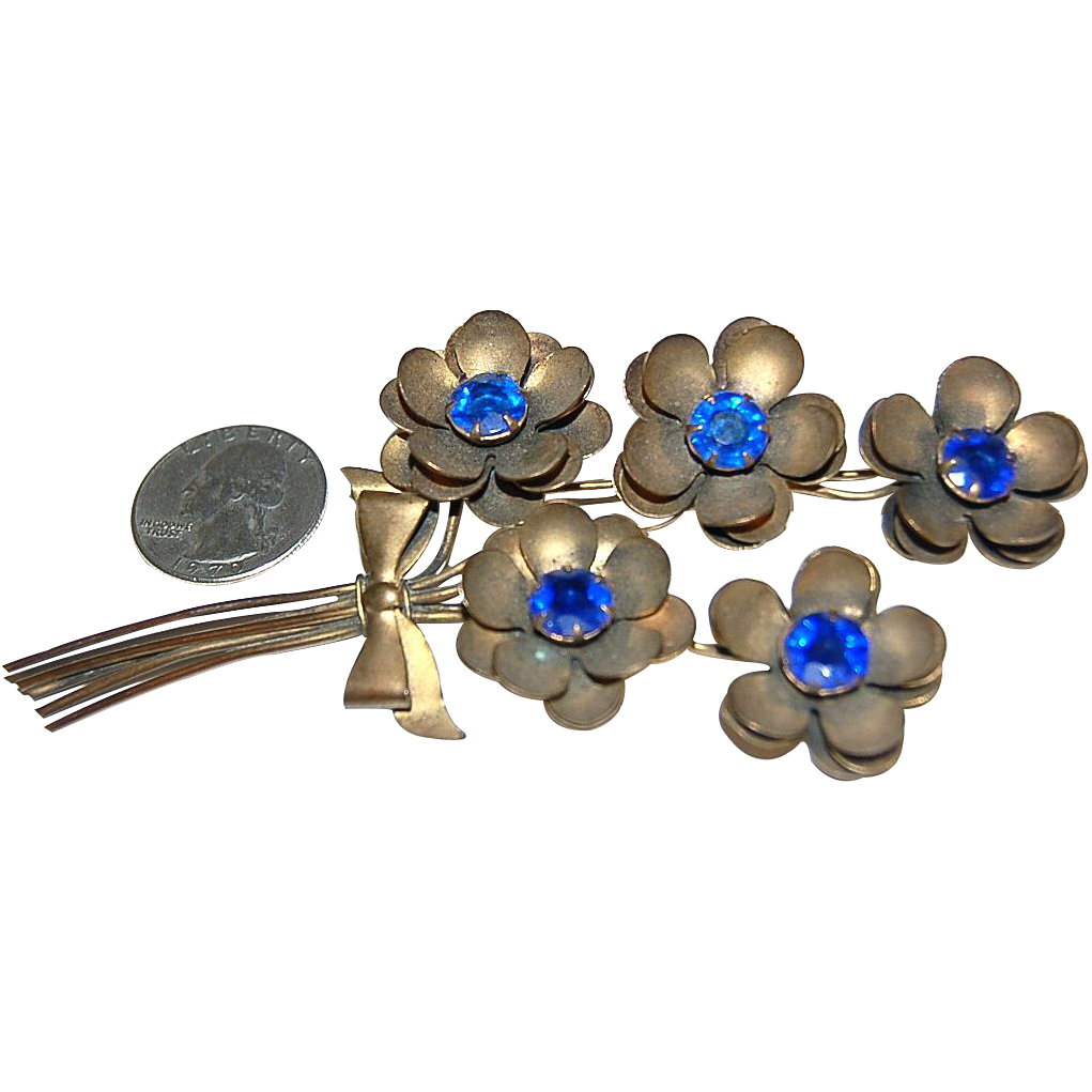 Vintage Brass Jewelry Large Flower Bouquet Brooch w/ Blue Stones