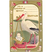 Stork Birth Announcement Postcard