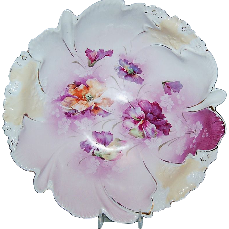 1890's R S Prussia Berry Bowl (Mold No.17) w/ Purple Lavender Creams Florals