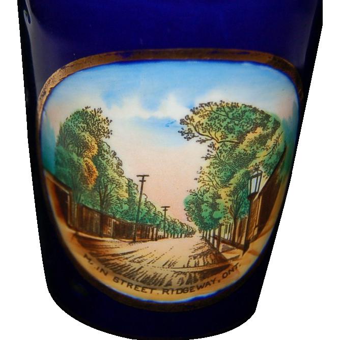 Circa 1900's Cobalt Blue Porcelain Souvenir Tumbler of Ridgeway, Ontario