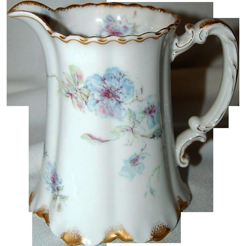 Antique Haviland Limoges Porcelain Milk Jug /Pitcher w/ Floral Design