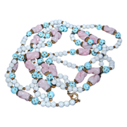 "65"" Long Strand in Colors of Pale Pastel Blue, Pink & White Beads"