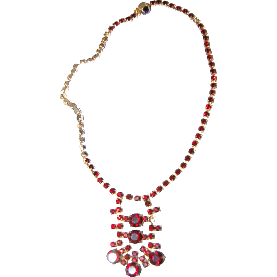 Deep Blood Red Stones / Garnets Necklace