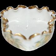 1900's Willets Belleek Heart Shaped & Crimped Rim Individual Salt
