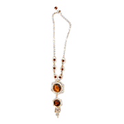 Dazzling Carmel Colored Topaz Rhinestones Necklace