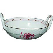 Very Sweet Herend Hungary Hand Painted Raspberry Indian Pattern Miniature Basket