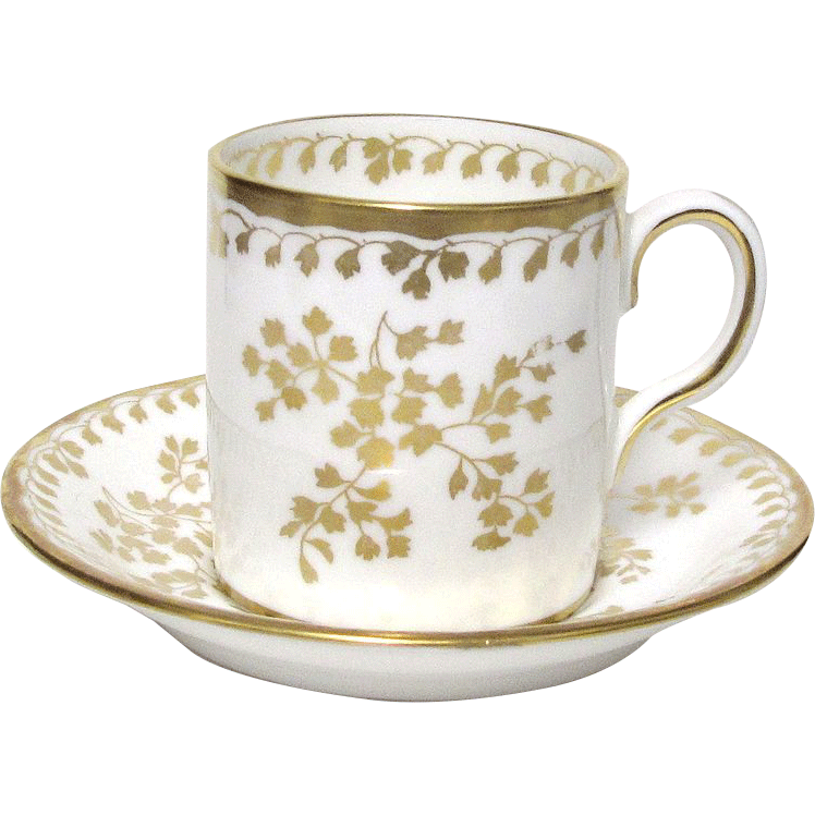 Delicate Gold Decorated Fern Like Leaves Royal Chelsea Demitasse Cup & Saucer