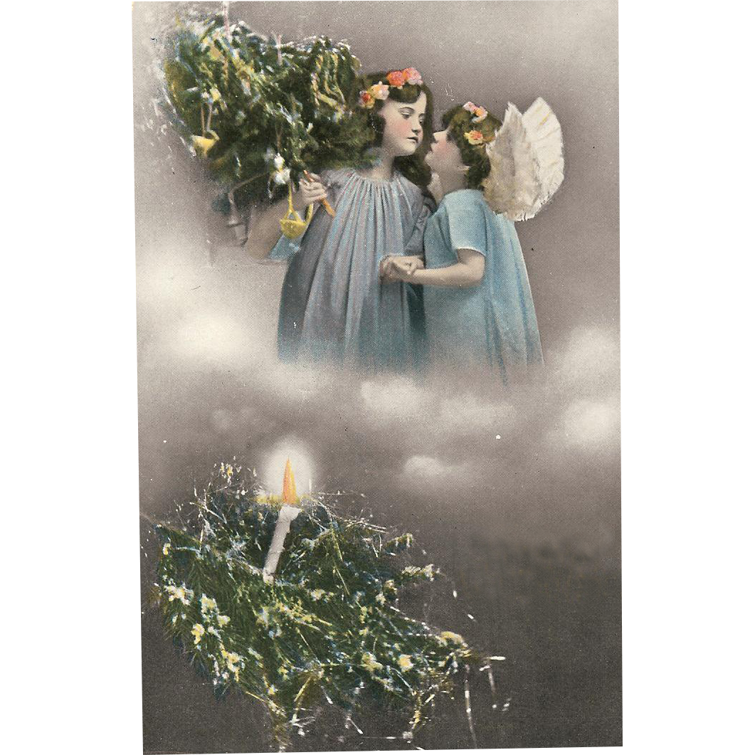 "Holiday Postcard of "" Two Christmas Angels """