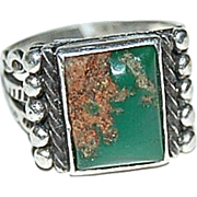 Silver & Natural Green Turquoise Stone Native American Ring