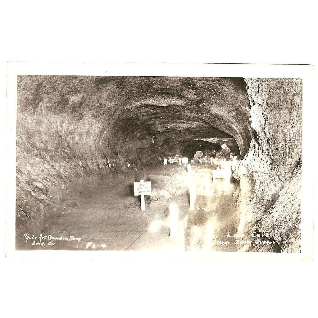 "RPPC Photograph of Inside the "" Lava Cave, near Bend Oregon"""