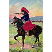 "Postcard ""Cowgirl with Rifle on Horseback"""