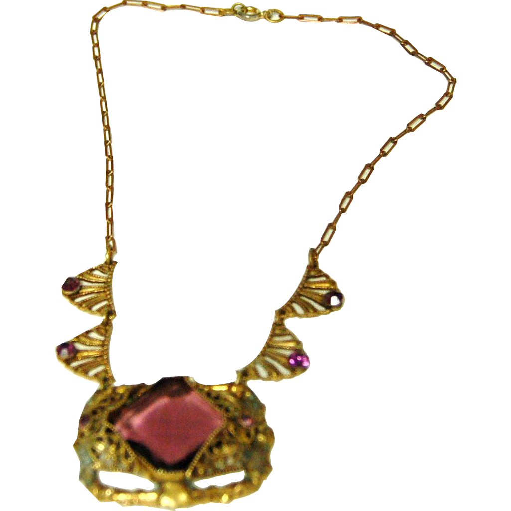 1910's-1920's Elaborate Victorian Style Costume Jewelry Brass Necklace