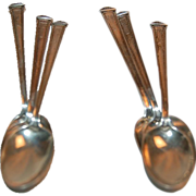 Set of Six (6) Sterling Demitasse / Coffee Spoons 1922 Theseum Pattern