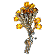"Very Large Costume Pin / Brooch with a ""Bouquet of Flowers"""