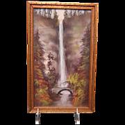 """1920's- 1930's Oil Pastels Artwork Painting of """" Multnomah Falls in Oregon """""""