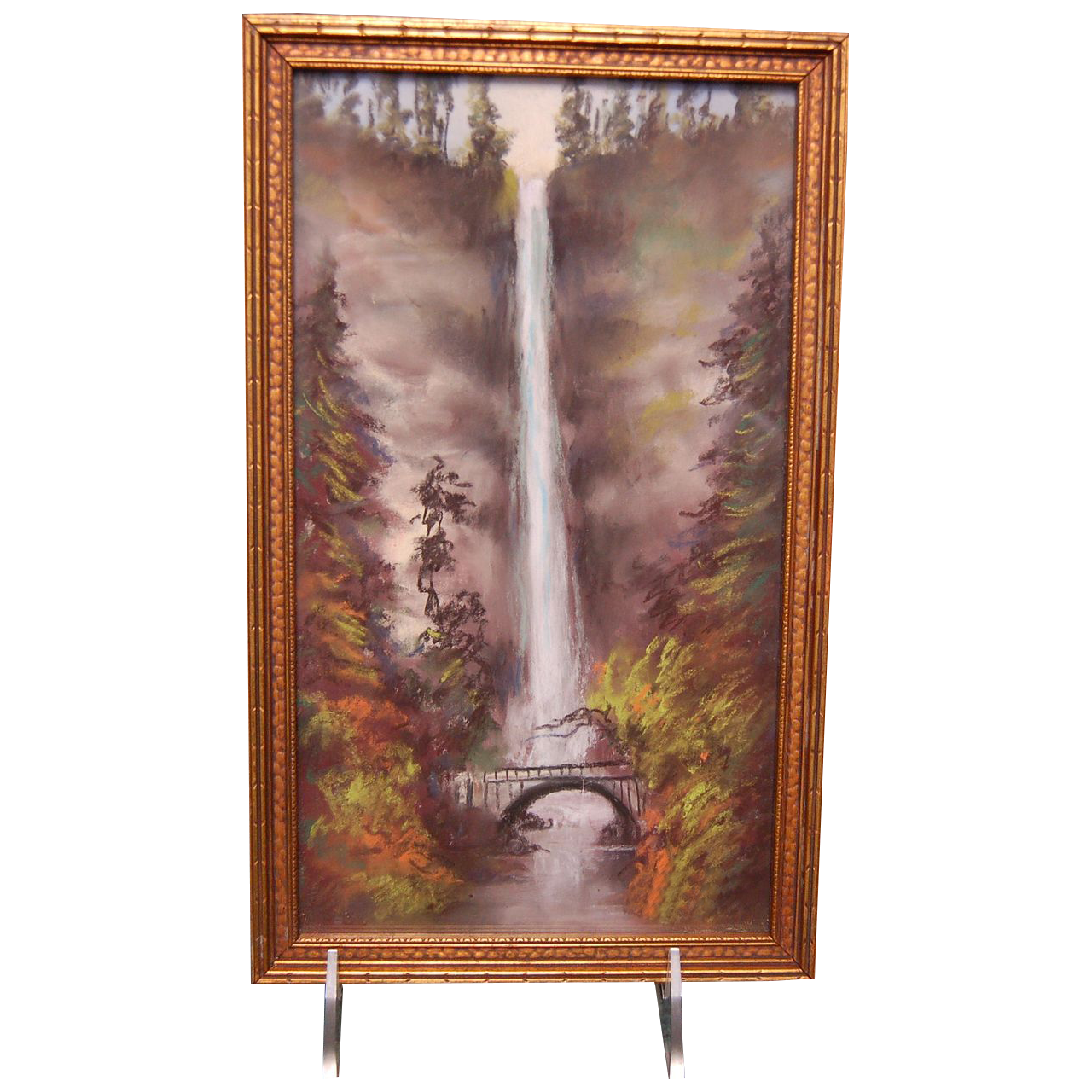 "1920's- 1930's Oil Pastels Artwork Painting of "" Multnomah Falls in Oregon """
