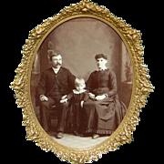 1890's Very Ornate Antique Brass w/ Floral Design Dresser Frame w/ Easel