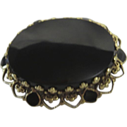 14K Gold & Black Onyx Antique Victorian Period Mourning Brooch