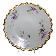 "12 1/8"" Limoges France Charger Decorated w/ ""Lovely Violets"" dates from the 1890's - 1900's"