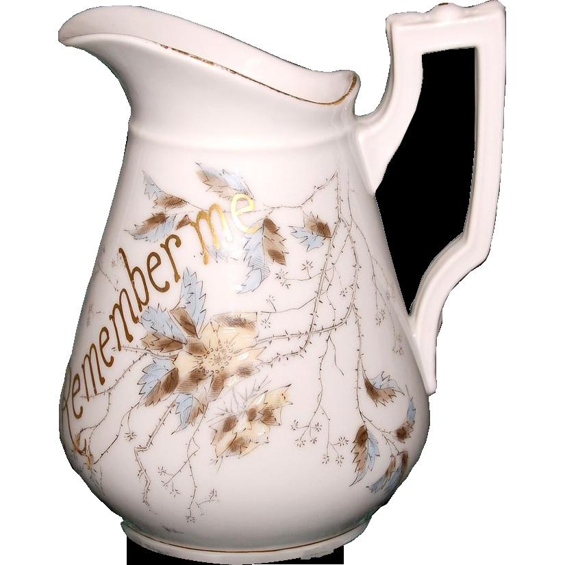 1890's Victorian Porcelain Breakfast Milk Jug w/ Bird & Wild Roses