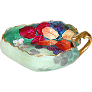 1890's - 1900's Gorgeous Hand Painted Limoges Candy Dish with Berries