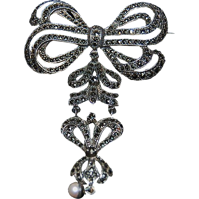 Fantastic & Beautiful Sterling Silver Lapel Pin / Brooch w/ Marcasites & Pearl Drop