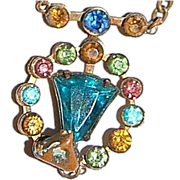 1910's-1920's Multicolored Rhinestone Necklace with Medallion Drop
