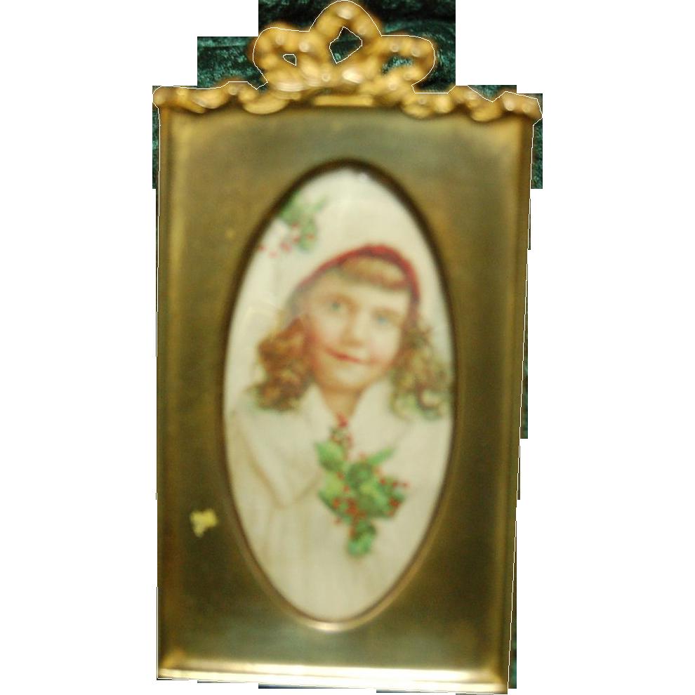 Rectangular Early 1900's Brass Dresser Frame w/ Easel