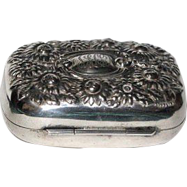 Gorgeous 1890's Floral Sterling Silver Soap Box decorated w/ Chrysanthemums