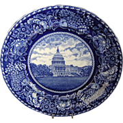 Dark Cobalt Blue & White Historical US Capital Souvenir Plate