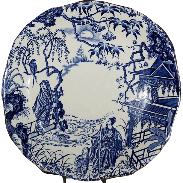 "Royal Crown Derby 8 3/4"" x 8 5/8"" Square Cake Plate ( Blue Mikado Pattern )"