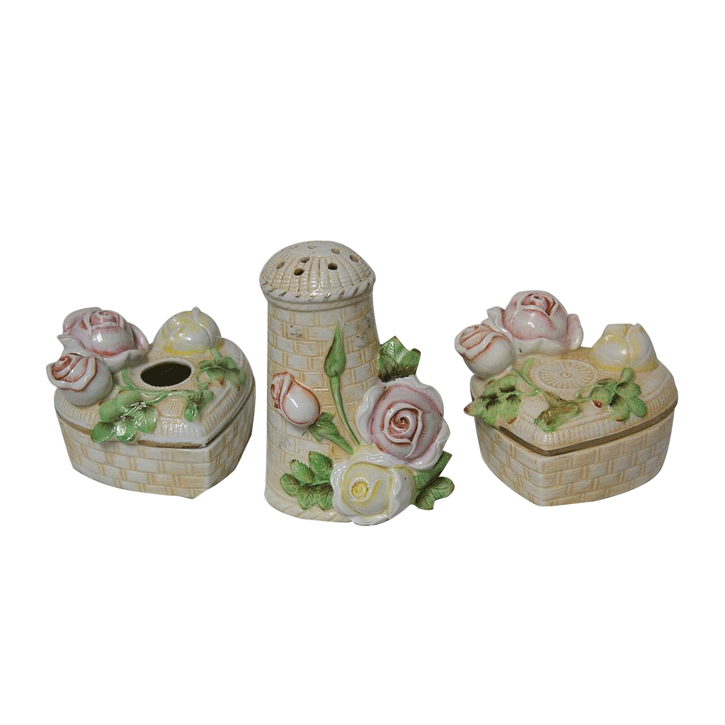 Schafer & Vader Germany 3 Pc Porcelain Dresser Set w/Blown Out Roses