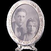 Small Sterling Silver Engraved Border Dresser Frame