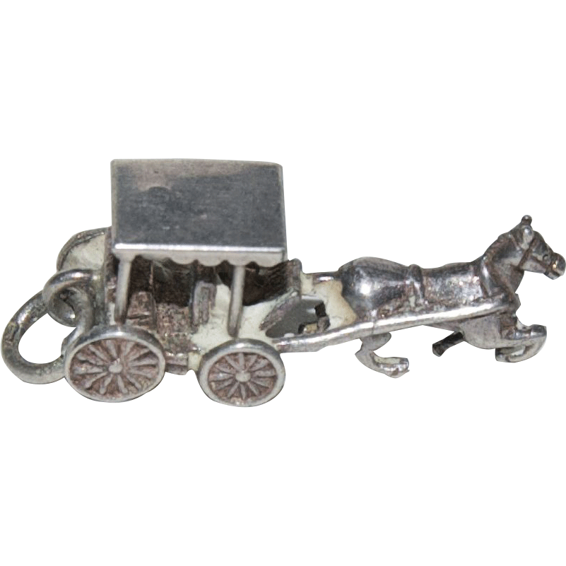 "Sterling Silver Charm for Charm Bracelet w/ ""Horse and Buggy"""