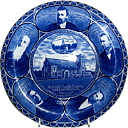"Rolled Edge Blue & White Souvenir Plate of "" St. Paul's Union Church """