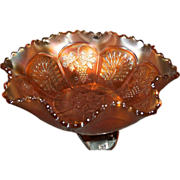 "Old Carnival Fenton Glass Marigold Peacock & Grapes Footed Medium 7 3/4"" Bowl"