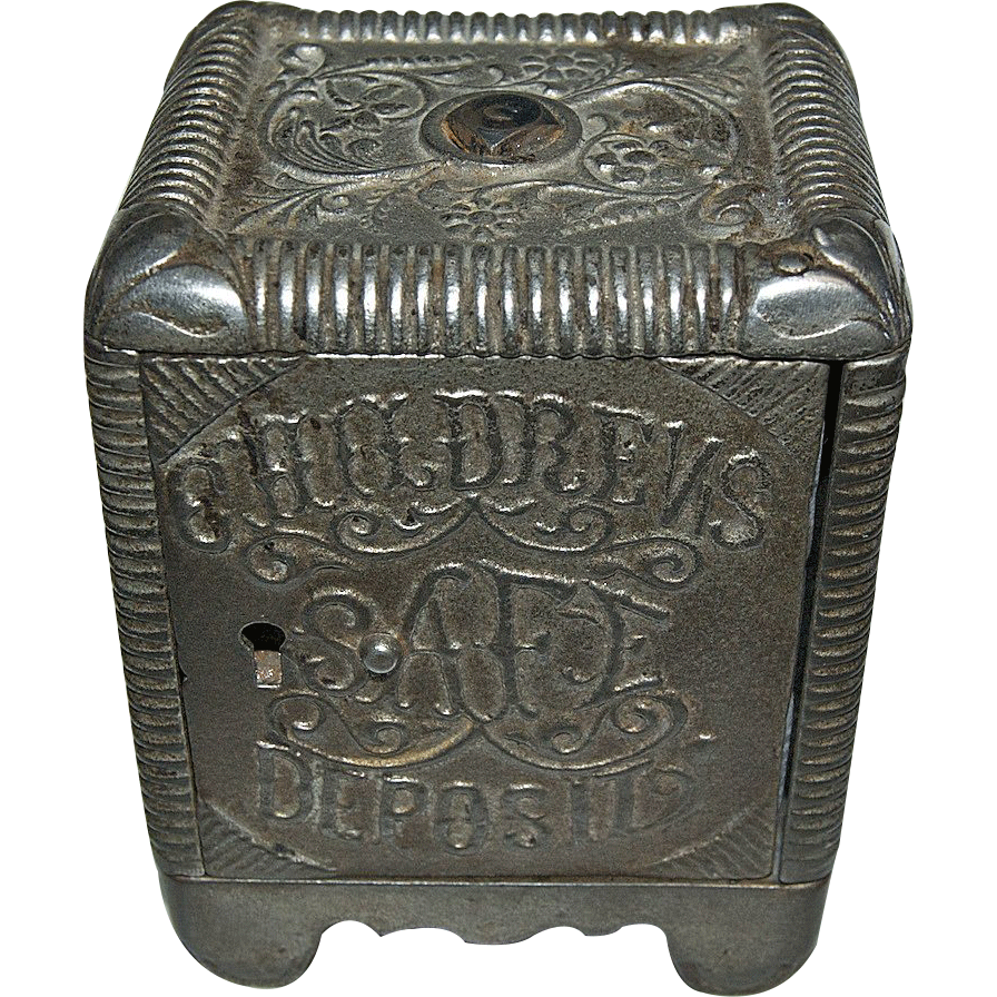 "1800's Cast Iron "" Childrens Safe Deposit Bank """