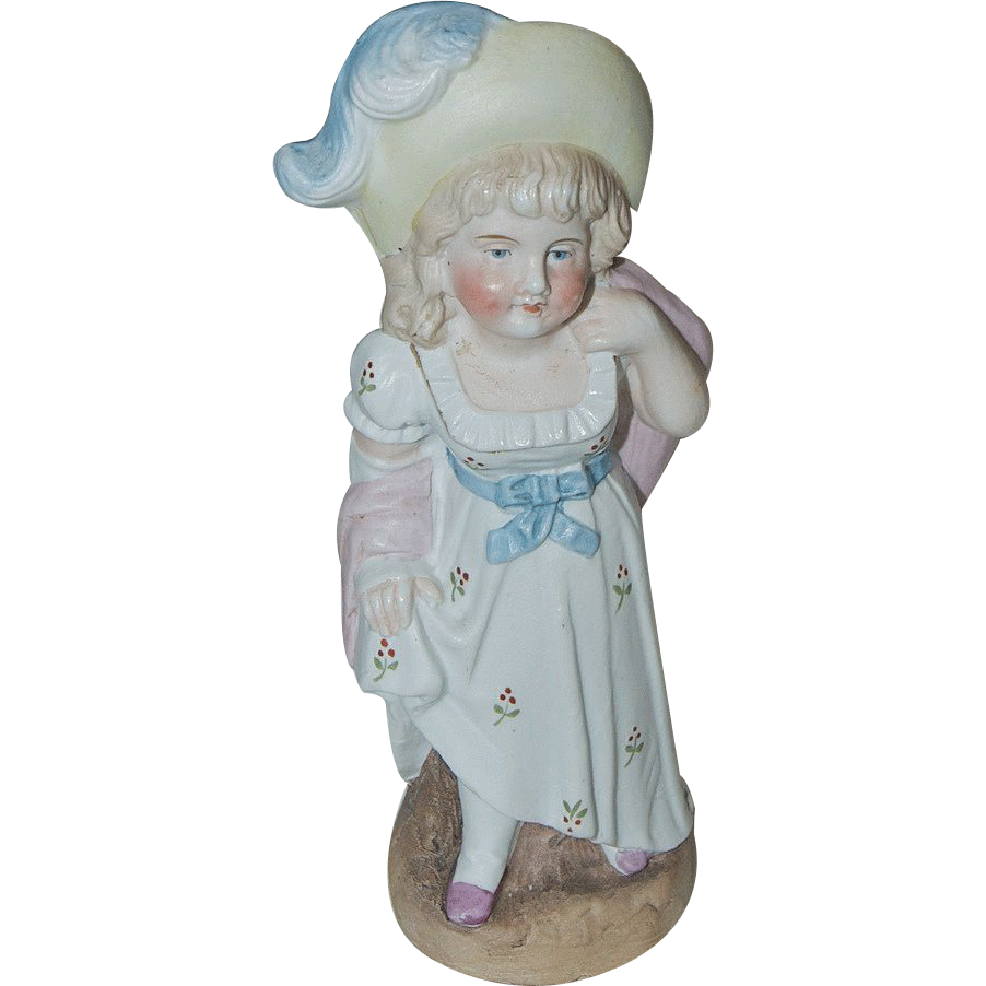 1890's Victorian Bisque Little Girl Figurine looks like Kate Greenaway Character