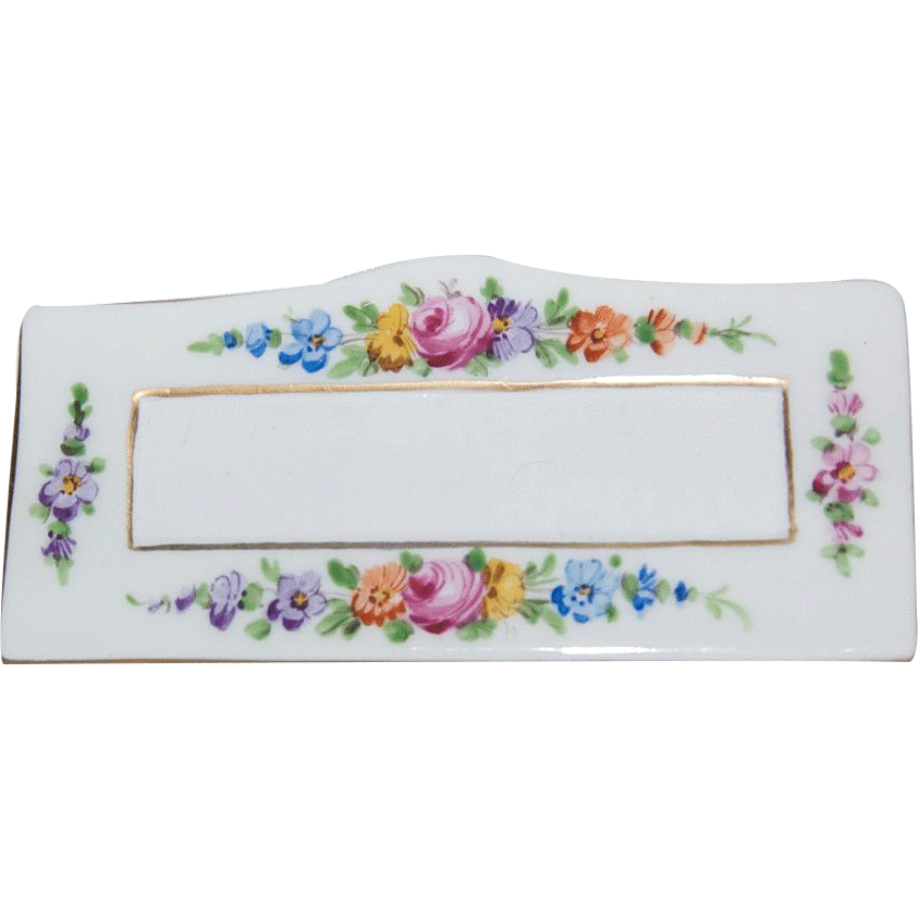 Hand Painted Dresden Saxony Porcelain Place Card Holder