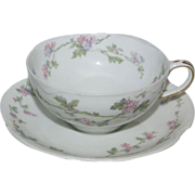 "French Haviland Cup & Saucer Set  ""Floral"""